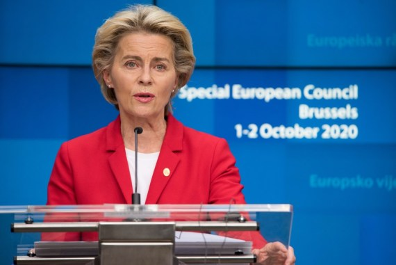 European Commission President Ursula von der Leyen attends an online press conference after the first day meeting of the European Union (EU) special summit in Brussels, Belgium, Oct. 2, 2020.(European Union/Handout via Xinhua)