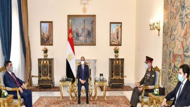Egypt's President Abdel Fattah Al-Sisi met, on Thursday, with Iraqi Defence Minister Juma'a Inad Saadoun during the latter's visit to Cairo, where both sides discussed enhancing military cooperation between the two Arab countries, according to a statement by the Egyptian presidency.