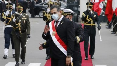 Peruvian President Manuel Merino (front) greets supporters after his swearing-in ceremony as the country's president, at the National Congress, in Lima, Peru, on Nov. 10, 2020. (Xinhua-Mariana Bazo)