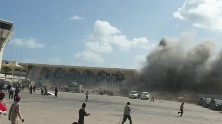 Explosions reported in Yemen as new government arrives at Aden airport