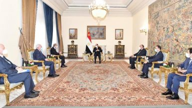 Egypt's President Abdel Fattah Al-Sisi on Saturday received Jordanian Foreign Affairs Minister Ayman Safady, and Palestinian Foreign Affairs Minister Riyad Al-Maliki.