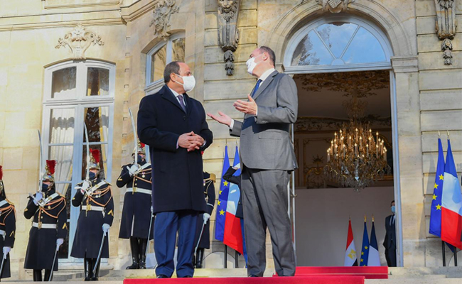 France Prime Minister Jean Castex expressed to Egypt's President Abdel Fattah Al-Sisi his country's keenness to boosts its investments in Egypt. This came during a meeting in the French capital Paris on the sidelines of Al-Sisi's visit to western European country.