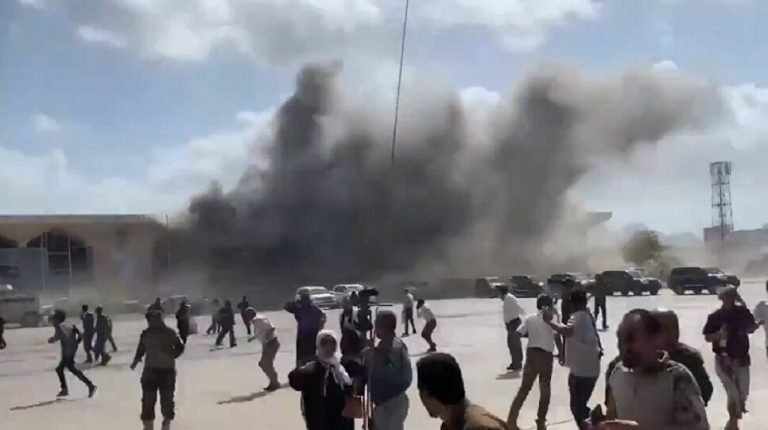 Three massive explosions rocked the Aden airport in southern Yemen on Wednesday as local officials were gathering to receive a plane carrying the new power-sharing government coming from Saudi Arabia