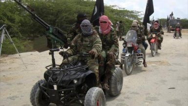 Al Shabaab militants during training at an unidentified location in Somalia