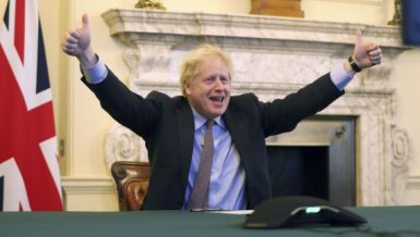 British Prime Minister Boris Johnson reacts from 10 Downing Street after Britain and the European Union (EU) reached a post-Brexit deal, in London, Britain, Dec. 24, 2020. (Pippa Fowles/No 10 Downing Street/Handout via Xinhua)