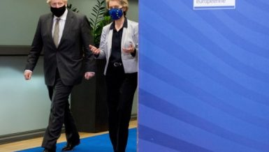European Commission President Ursula von der Leyen (R) and British Prime Minister Boris Johnson arrive for their meeting to discuss Brexit trade deal in Brussels, Belgium, Dec. 9, 2020. (European Union-Handout via Xinhua)