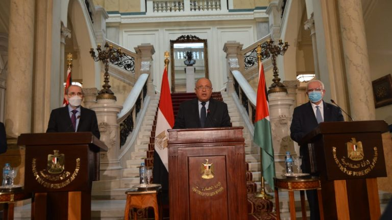 """Egypt has called for holding an international conference with Germany, France, and Jordan, in the so-called """"Munich format"""" to stimulate the Palestinian-Israeli peace process.It came during a Saturday joint press conference by Foreign Ministers of Egypt, Jordan, and Palestine in Cairo."""