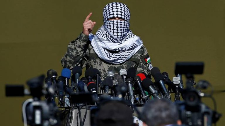 """Around 12 militant groups, including al-Qassam Brigades, Hamas movement's armed wing, held on Tuesday the first-ever joint military maneuver in the Gaza Strip called """"The Hard Corner."""""""