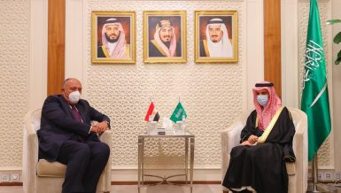 Egypt's Minister of Foreign Affairs Sameh Shoukry with and his Saudi counterpart Faisal bin Farhan Al-Saudand his Saudi counterpart Faisal bin Farhan Al-Saud in the Saudi capital, Riyadh, on Tuesday, to preside over the joint Egyptian-Saudi political consultation committee.