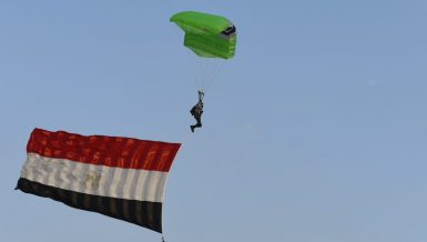 Tourism, Sports, Civil Aviation Ministers attend skydiving show at Giza Pyramids