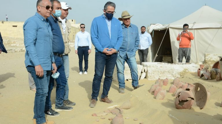 Khaled Al-Anani, Minister of Tourism and Antiquities, inspected, on Monday, the excavations of the Egyptian archaeological mission working next to the pyramid of King Titi I in the Saqqara Necropolis.