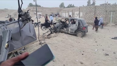 Two people were killed and eight others injured when a bomb went off near a football ground in Panjgur district of Pakistan southwestern Balochistan province on Saturday, a spokesman of the provincial government said.