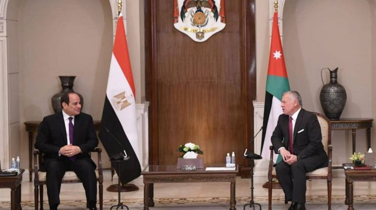 Egypt's President Abdel Fattah Al-Sisi arrived in Amman, on Monday, upon the invitation of Jordan King Abdullah II, according to a statement released by the Egyptian presidency.