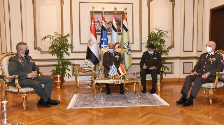 Egyptian Defence Minister Mohamed Zaki and the Greek Chief of Staff Konstantinos Floros discussed strengthening military cooperation between Cairo and Athens, on Monday.