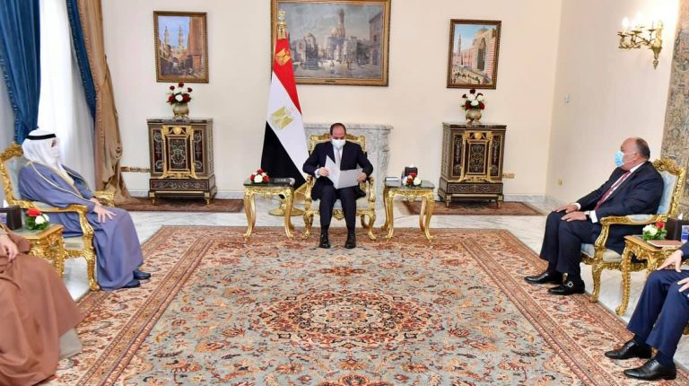 Egyptian President Abdel-Fattah al-Sisi held talks on Saturday with Kuwaiti Foreign Minister Sheikh Ahmad Nasser Al-Mohammad Al-Sabah in Cairo, where they discussed reconciliation between Qatar and its boycotting Arab quartet including Egypt.