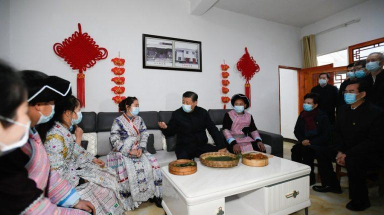 President Xi Jinping visits villagers of Huawu Village, Xinren Miao Township of Qianxi County, Bijie, southwest China's Guizhou Province, Feb. 3, 2021.(Xinhua/Li Xueren)