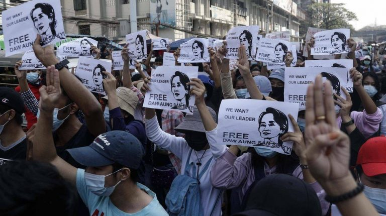 Protests opposing coup sweep Myanmar's biggest city