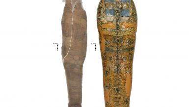 Ancient Egyptian mummy featuring rare painted mud shell layer uncovered