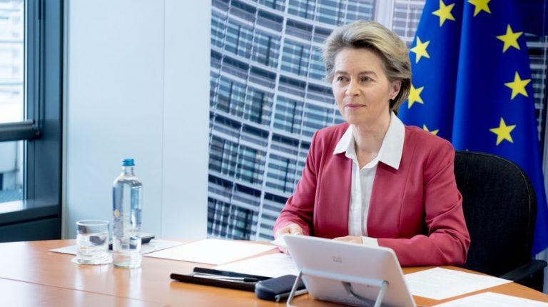 European Commission President Ursula von der Leyen attends a video conference in Brussels, Belgium, Jan. 31, 2021. (European Union/Handout via Xinhua)