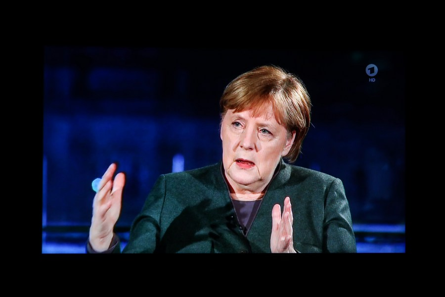 German Chancellor Angela Merkel is seen in a televised interview with the German public broadcast ARD in Berlin, Germany, Feb. 2, 2021. (Xinhua/Shan Yuqi)
