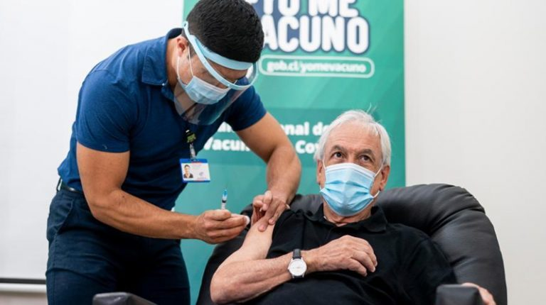 Chile's President Sebastian Pinera on Friday received the first dose of the Chinese vaccine developed by pharmaceutical firm Sinovac