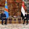 Egypt's President Abdel Fattah Al-Sisi during a meeting with Democratic Republic of Congo (DRC) President Felix Tshisekedi
