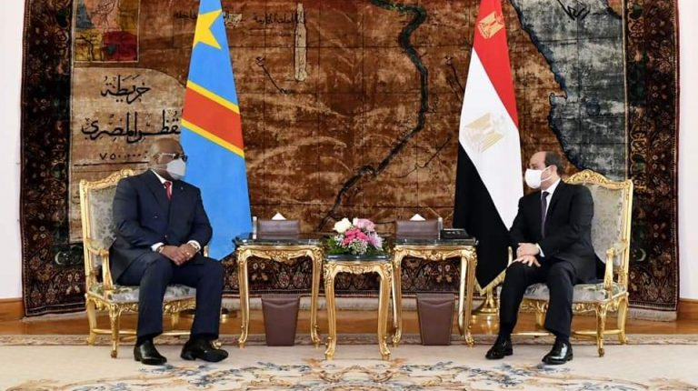 Egypt's President Abdel Fattah Al-Sisi during a meeting with Democratic Republic of Congo (DRC) President Felix Tshisekedi