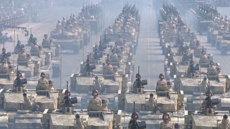 Is China ramping up military spending?Chinese armed forces: People's Liberation Army (PLA) during a military parade in China.