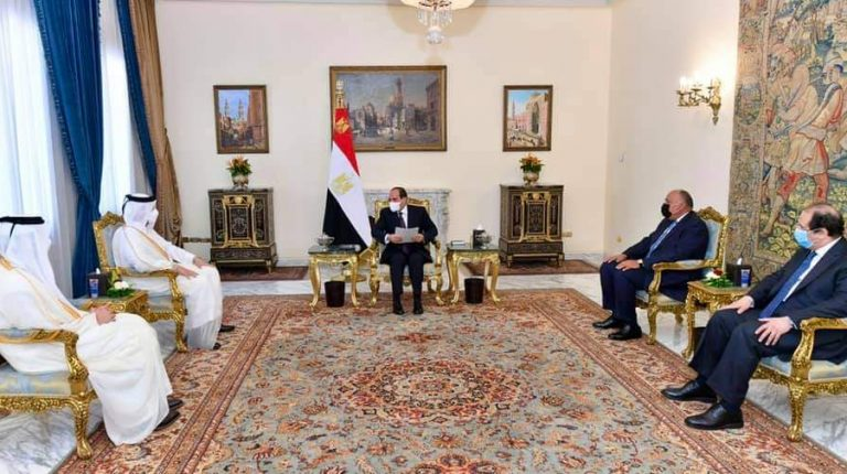 Egypt's President Abdel Fattah Al-Sisi received Qatari Minister of Foreign Affairs and Deputy Prime Minister Sheikh Mohammed bin Abdul Rahman Al Thani