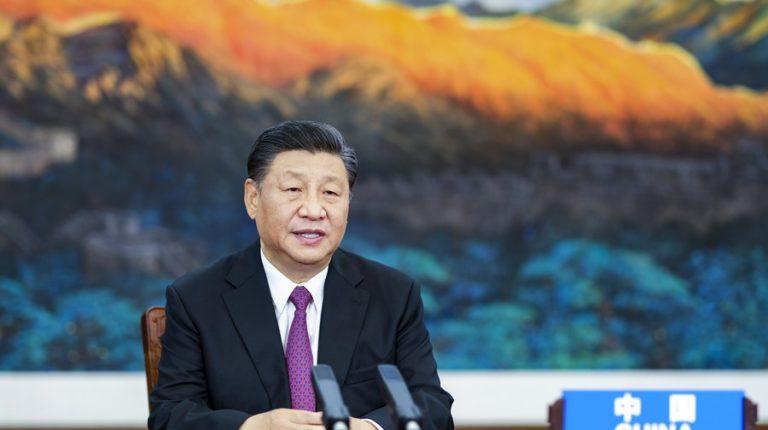 Chinese President Xi Jinping addresses the Informal Economic Leaders' Retreat of APEC via video link in Beijing, capital of China, July 16, 2021. (Xinhua/Li Xueren)
