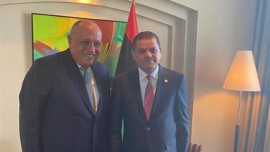 Egyptian Foreign Minister Sameh Shoukry with Libyan Prime Minister Abdel-Hamid Dbeibah during their meeting on Thursday 21 October, 2021.