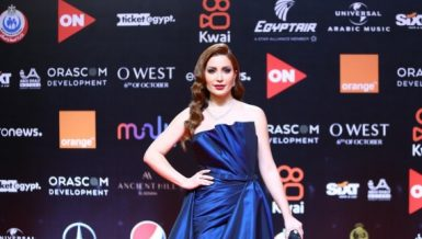 Syrian actress Nesreen Tafesh poses on the red carpet for the opening ceremony of the fifth edition of El Gouna Film Festival held in the Red Sea resort town of El Gouna, Egypt, Oct. 14, 2021. (Xinhua/Ahmed Gomaa)