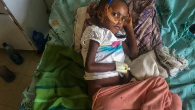 In this photo provided anonymously, Genet Mehari, 5, is treated for malnutrition but with limited medicine, at the Ayder Referral Hospital in Mekele, in the Tigray region of northern Ethiopia, Tuesday, Sept. 28, 2021. In the regional capital Mekele, a year of war and months of government-enforced deprivation have left the city of a half-million people with a rapidly shrinking stock of food, fuel, medicine and cash. (AP Photo)